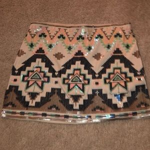Express Aztec sequin pull on skirt